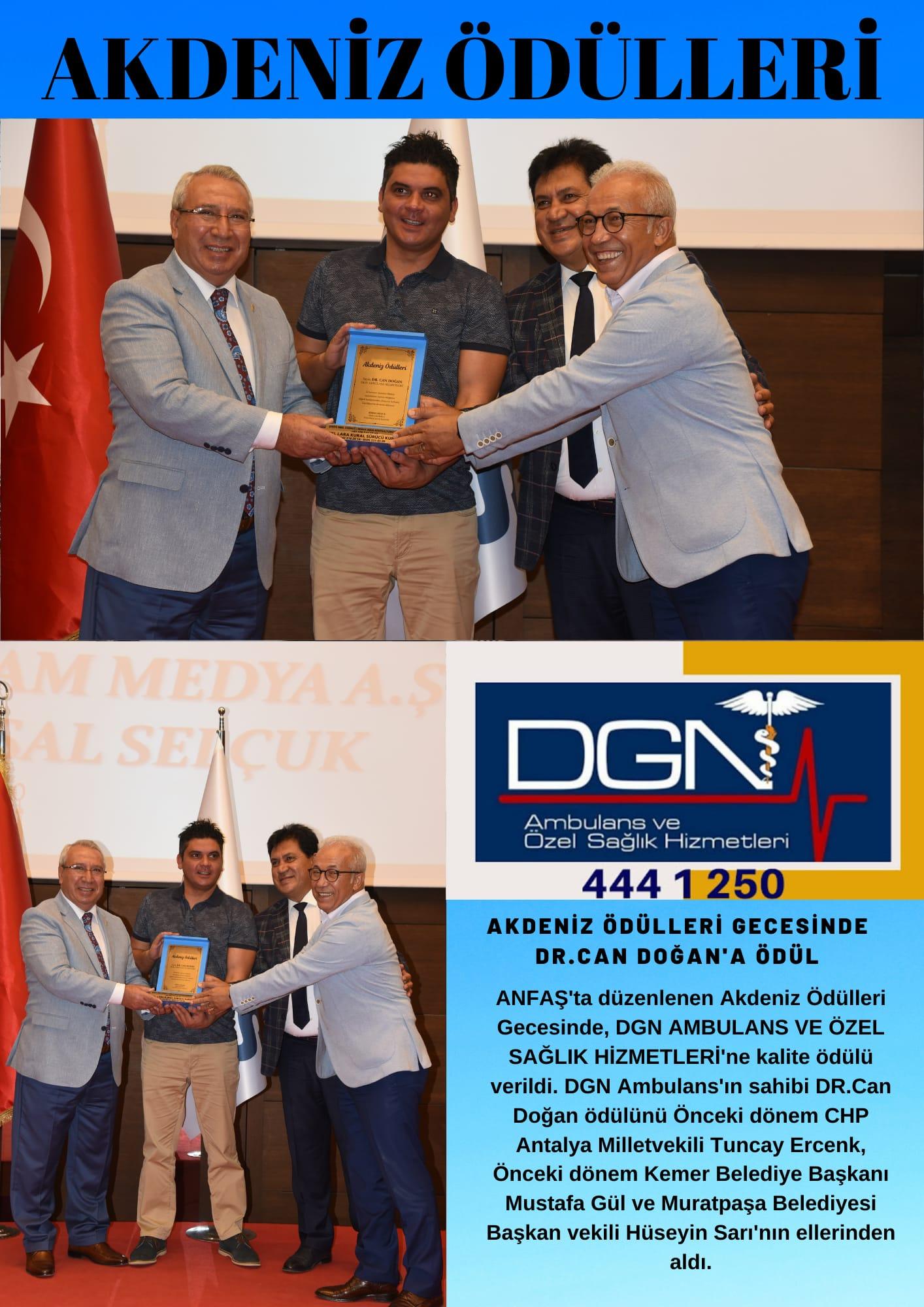 Akdeniz ödülleri gecesinde Dr. Can Doğan'a Ödül