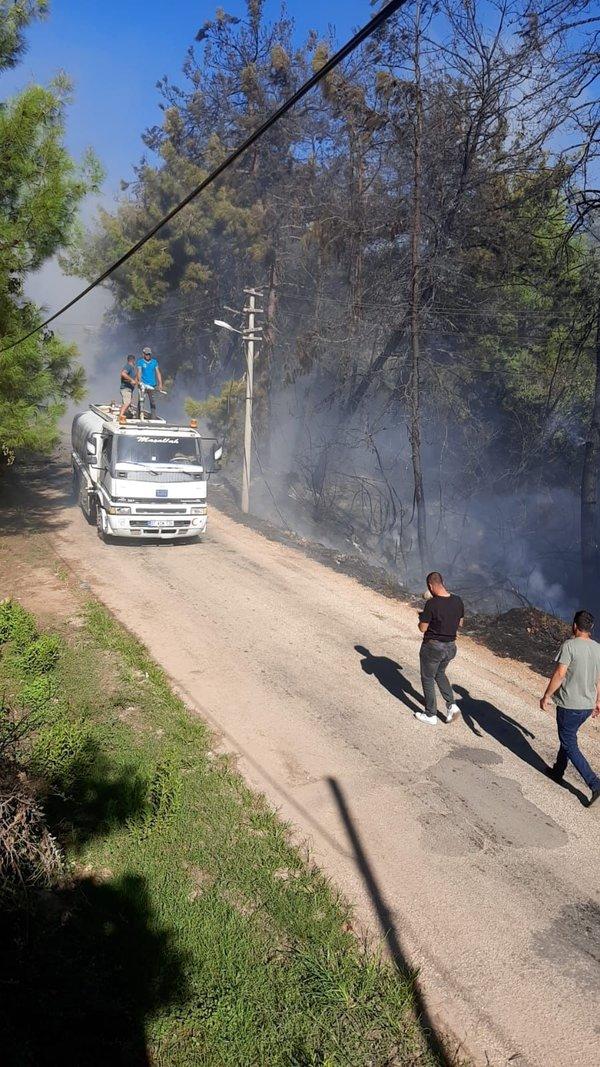 Alanya İlçesi'nin  Karakocalı Mahallesi'nde orman yangını çıktı.