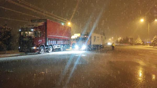 KONYA'yı Antalya'ya bağlayan karayolunda yoğun kar yağışı