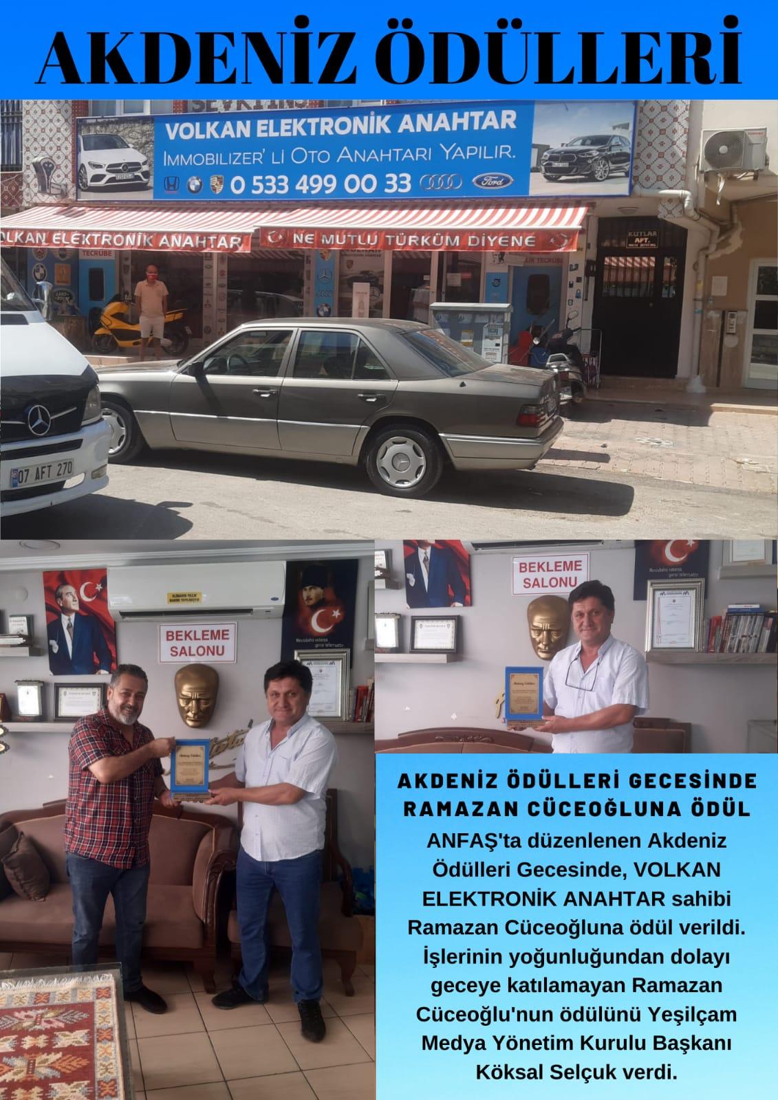 Volkan Elektronik Anahtar Ramazan Cüceoğlu'na Ödül